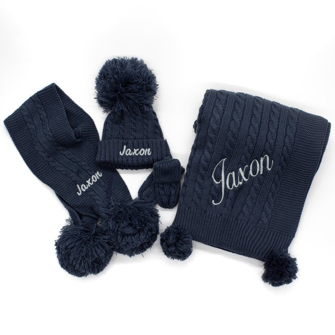 Personalised Cable Knit Steel Blue Scarf With Poms