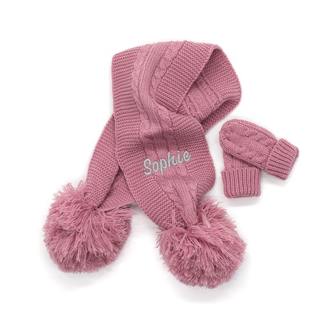Personalised Cable Knit Dusty Pink Scarf With Poms