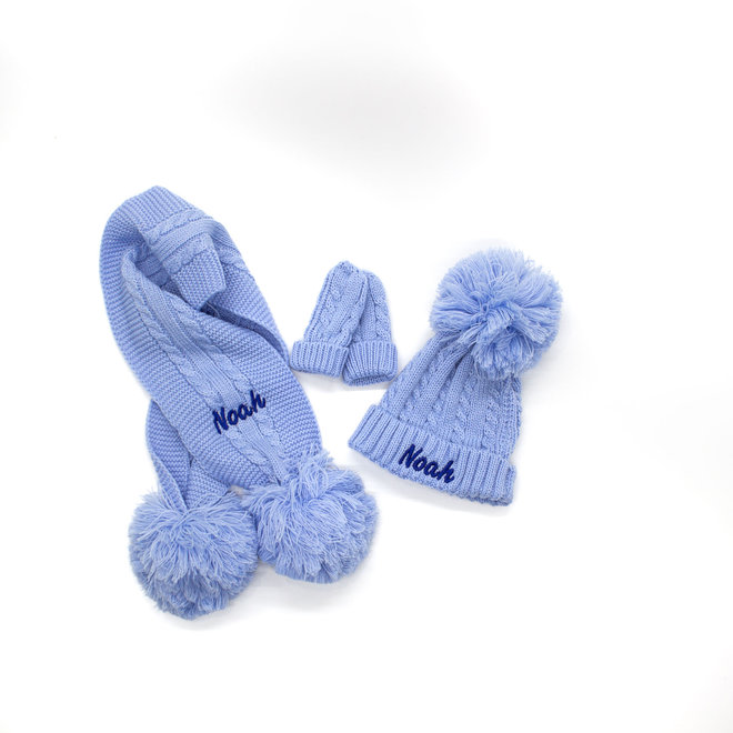 Personalised Cable Knit Light Blue Hat Scarf With poms