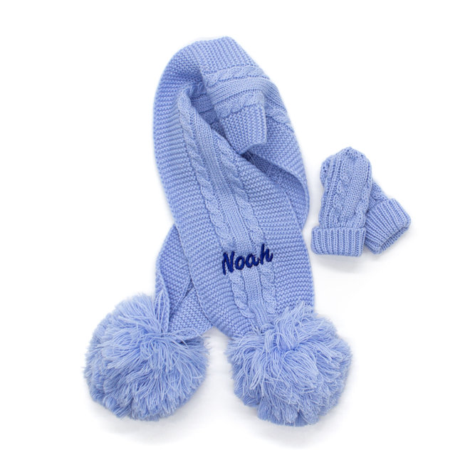 Light Blue Knitted Scarf With Poms