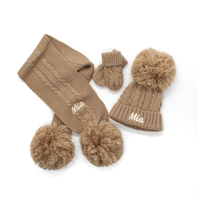 Personalised Cable Knit Beige Hat  Scarf With Poms