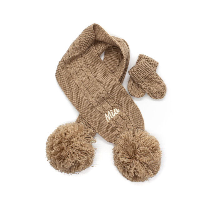 Beige Knitted Scarf With Poms