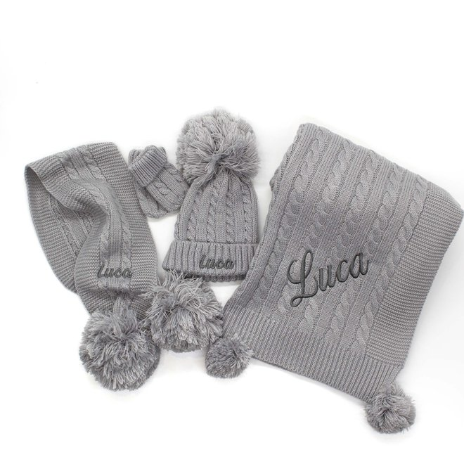 Personalised Cable Knit Grey Scarf With Poms
