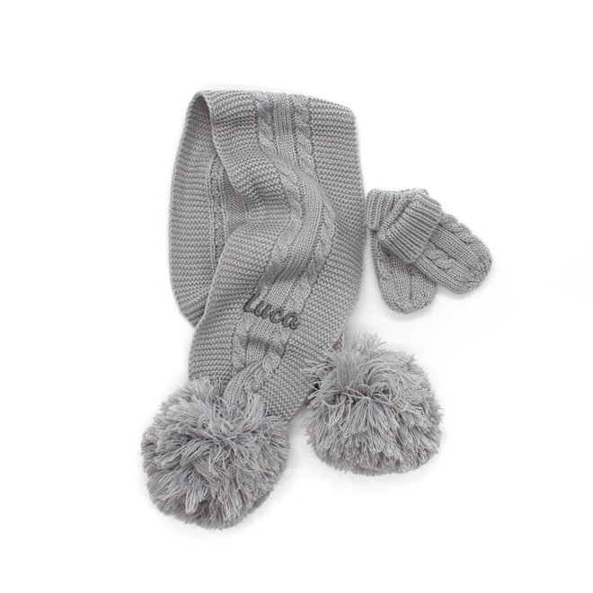 Grey Knitted Scarf With Poms