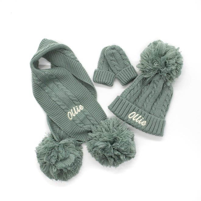 Personalised Cable Knit Sage Green Scarf With Poms