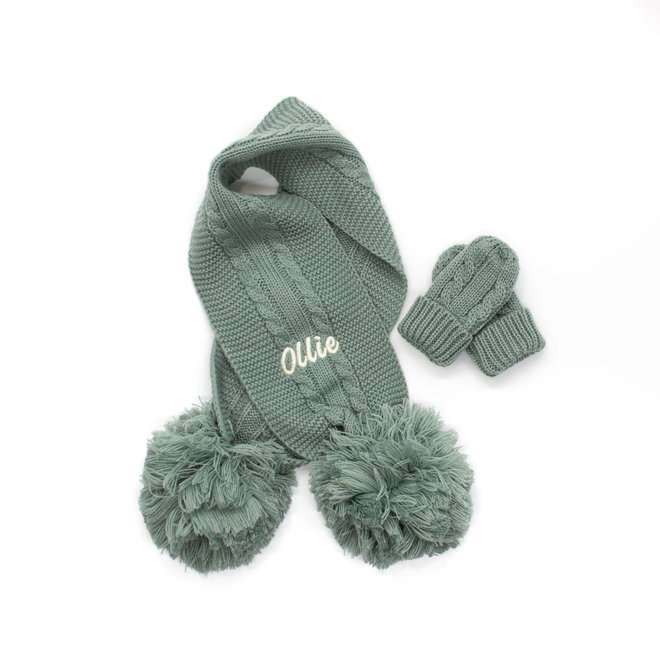 Sage Green Knitted Scarf With Poms