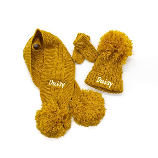 Personalised Cable Knit Mustard Scarf With Poms