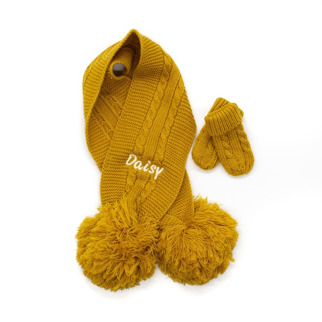 Mustard Knitted Scarf With Poms