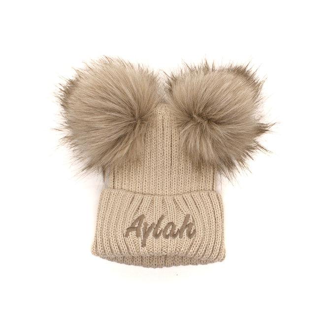 Beige Knit Baby & Kids Bobble Pom Hat
