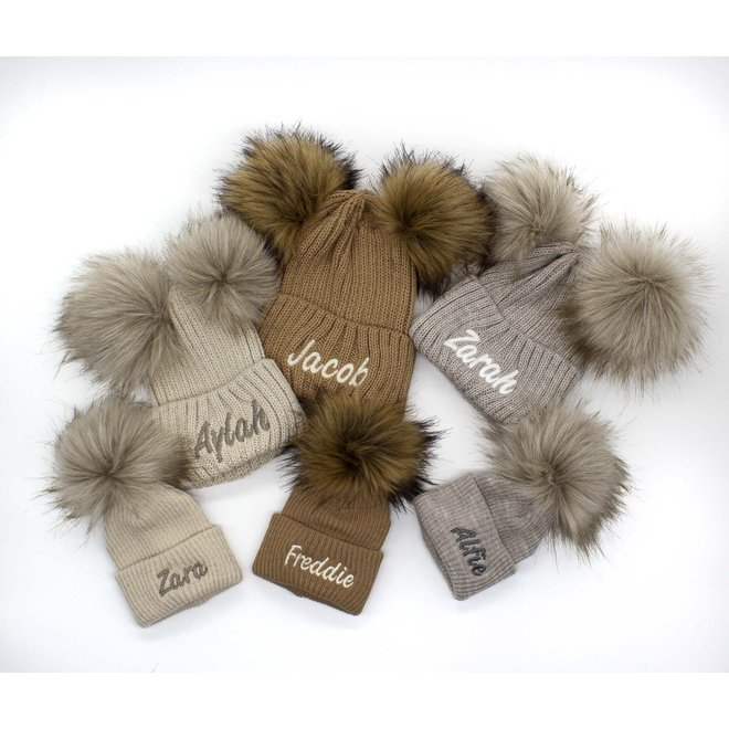 Personalised Stone Knit Bobble Pom Hat