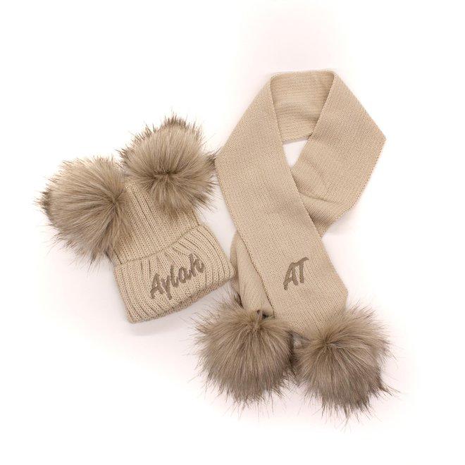 Personalised Beige Knit Pom Pom Hat & Scarf Set