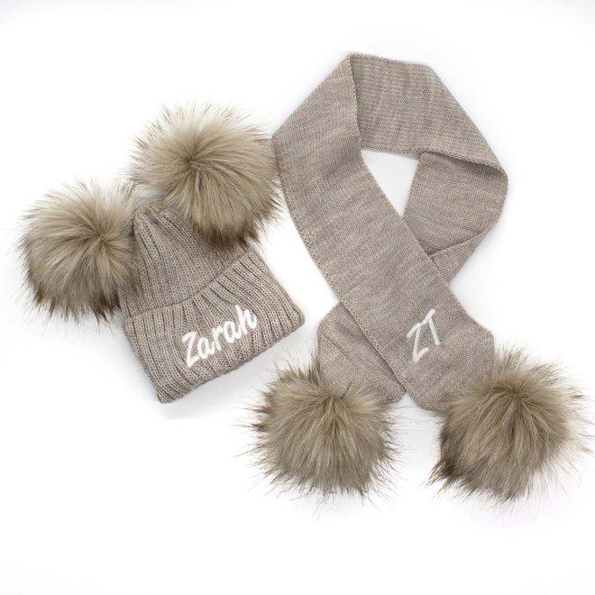 Personalised Stone Knit Pom Pom Hat & Scarf Set