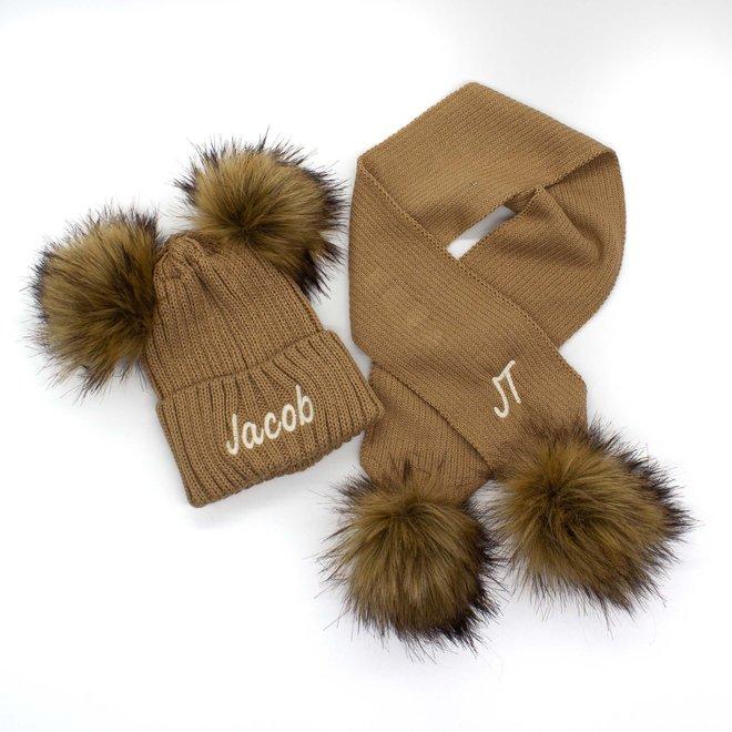 Personalised Camel Knit Pom Pom Hat & Scarf Set