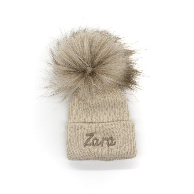 Personalised Beige Bobble Pom Baby Hat