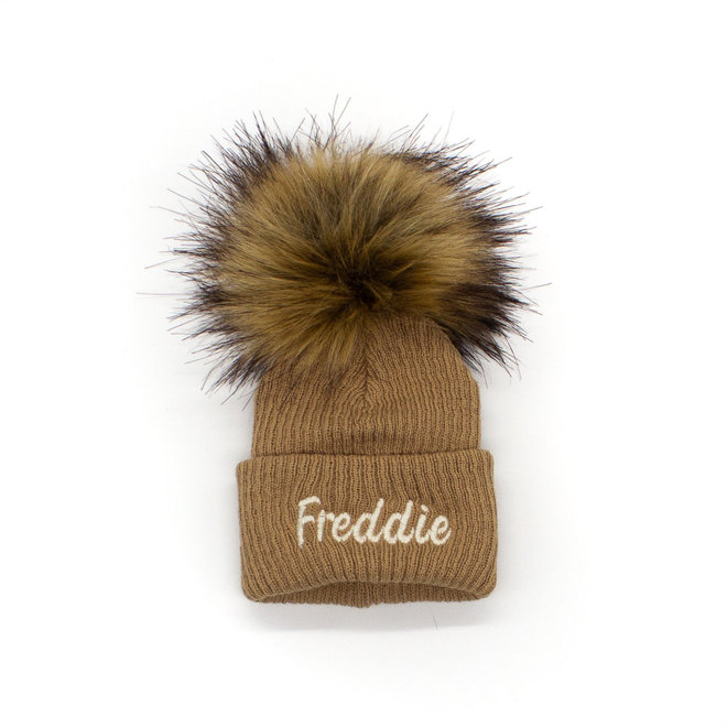 Personalised Camel Bobble Pom Baby Hat