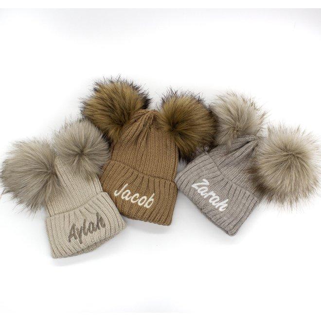 Personalised Camel Knit Bobble Pom Hat