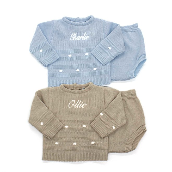 Personalised Blue Knitted Top & Jam Pants Outfit