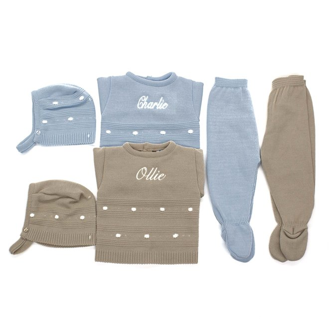 Personalised Blue Knitted Top, Trousers & Hat Outfit