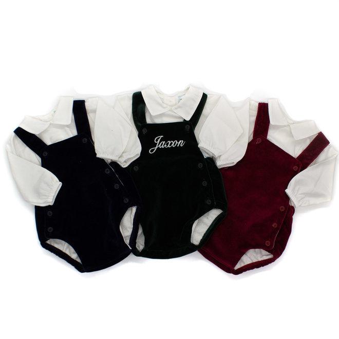 Personalised Velvet Romper With White Shirt