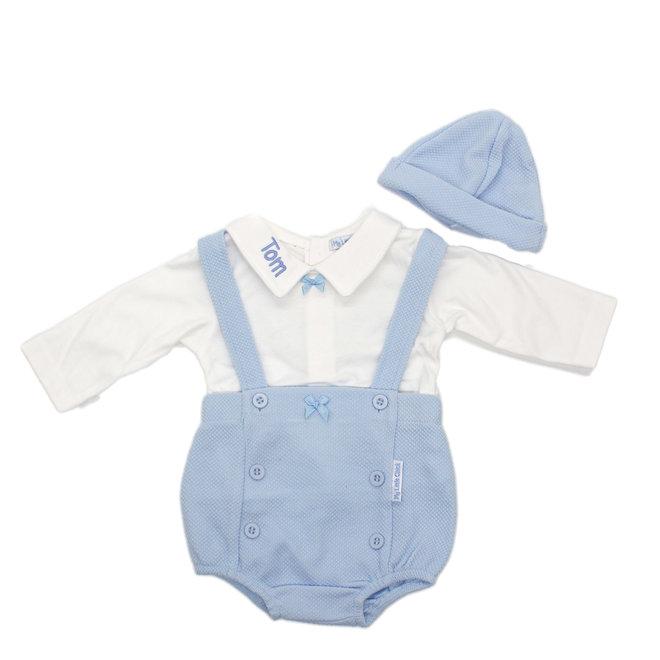 Personalised Baby Boy Blue Jam Pants, White Top & Hat