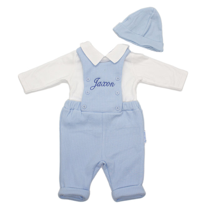 Personalised Baby Boy Blue Dungarees, White Top & Hat