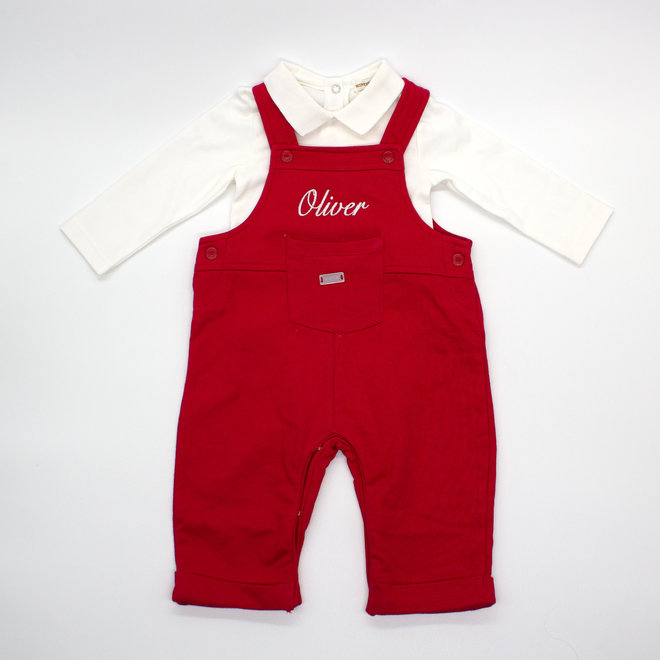 Personalised Red Dungarees & White Peter Pan Top