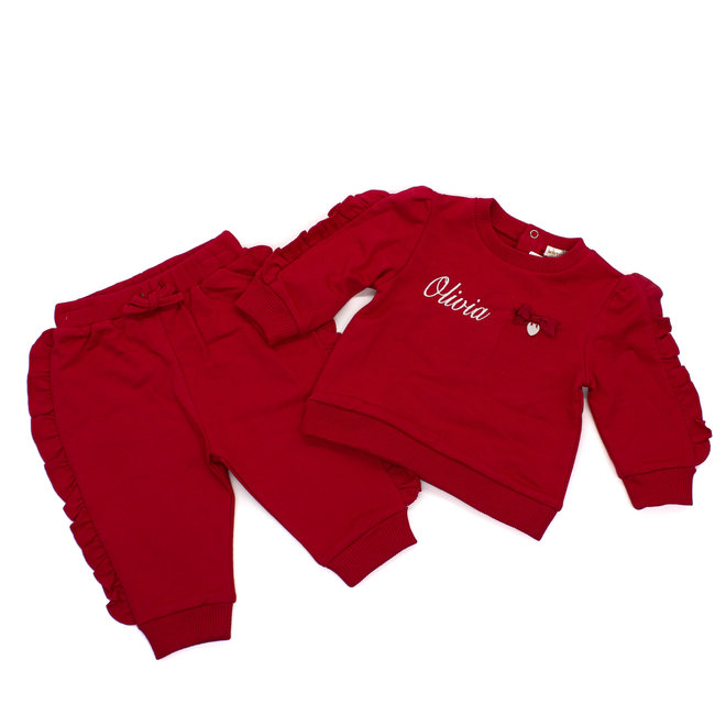 Red Tracksuit With Frill Edge