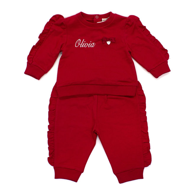 Personalised Red Tracksuit/Loungewear With Frill Edge