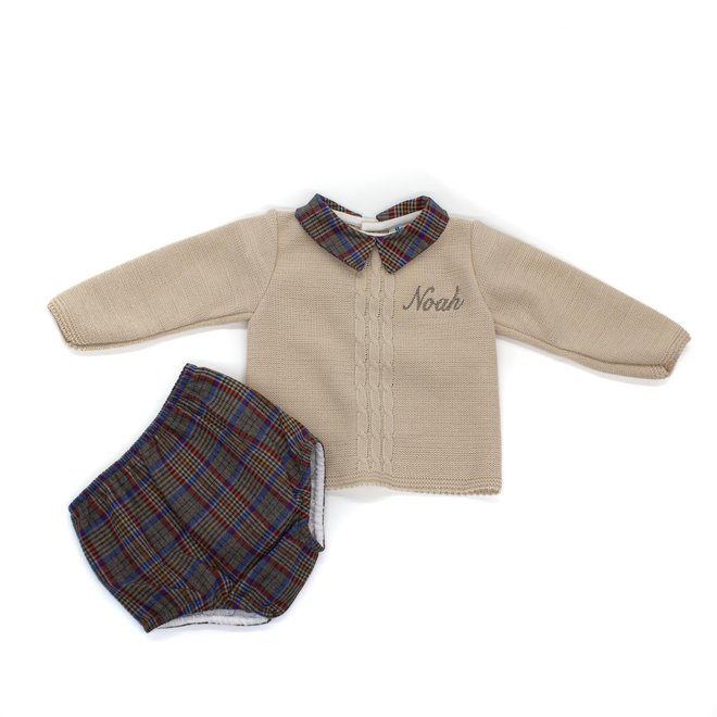 Cream Knitted Top & Tartan Jam Pants