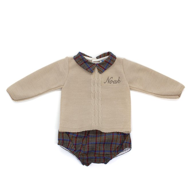 Personalised Baby Boy Cream Knitted Top & Tartan Jam Pants Outfit
