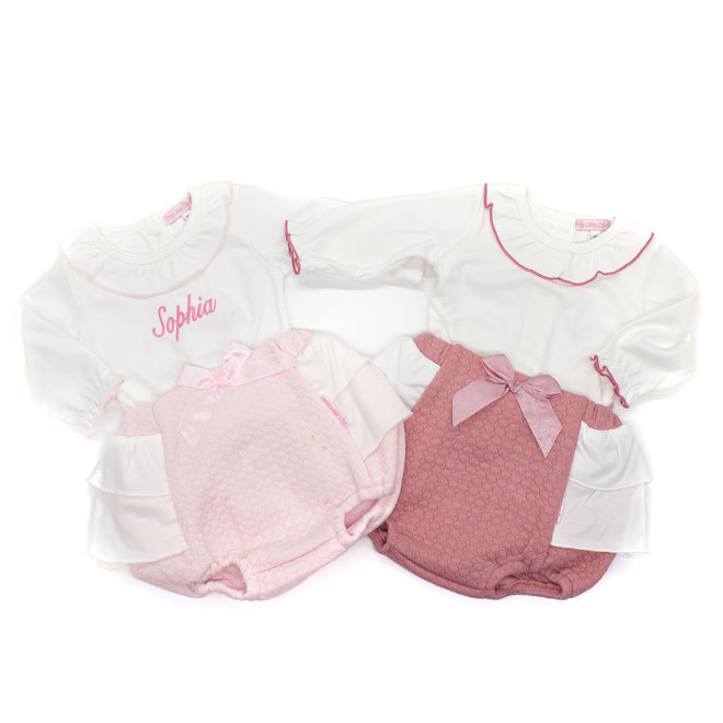 Baby Girls White Top & Pink Quilted Frilly Jam Pants