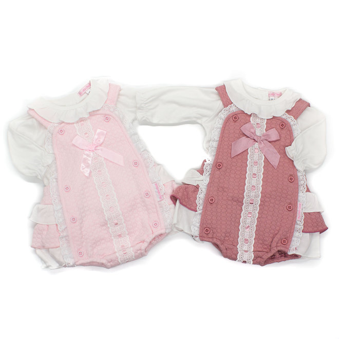 Baby Girls White Top & Pink Quilted Frilly Romper