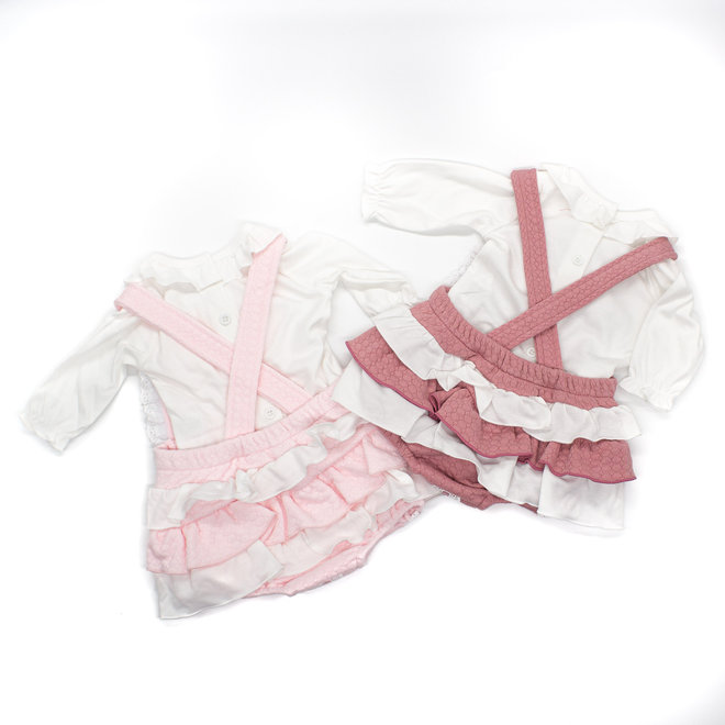 Personalised Baby Girl White Top & Pink Quilted Frilly Romper