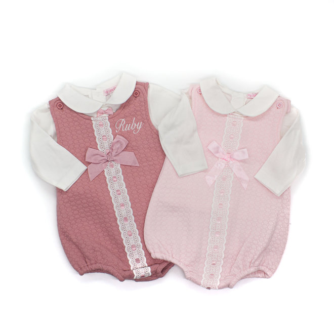 Baby Girls White Top & Pink Quilted Romper