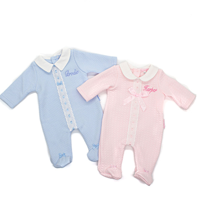 Personalised Baby Boy Blue Quilted Babygrow All In One