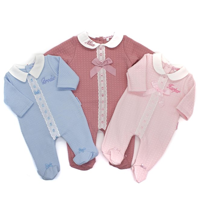 Personalised Baby Girl Dusty Pink Quilted Babygrow All In One
