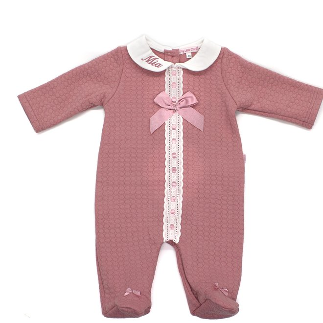 Baby Girl Dusty Pink Quilted Babygrow