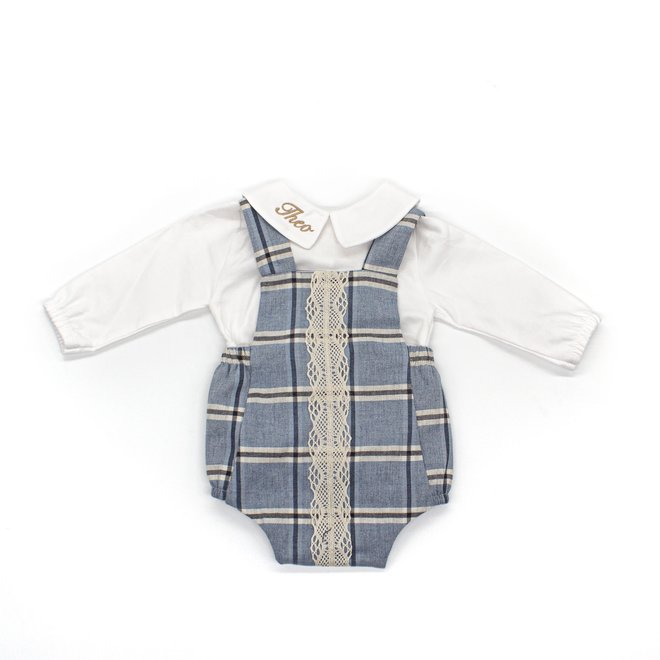 Personalised Baby Boy White Shirt & Dusty Blue Tartan Romper Outfit Set