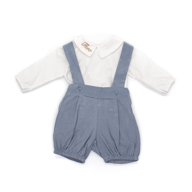White Shirt & Dusty Blue Short Two Piece Co-Ord