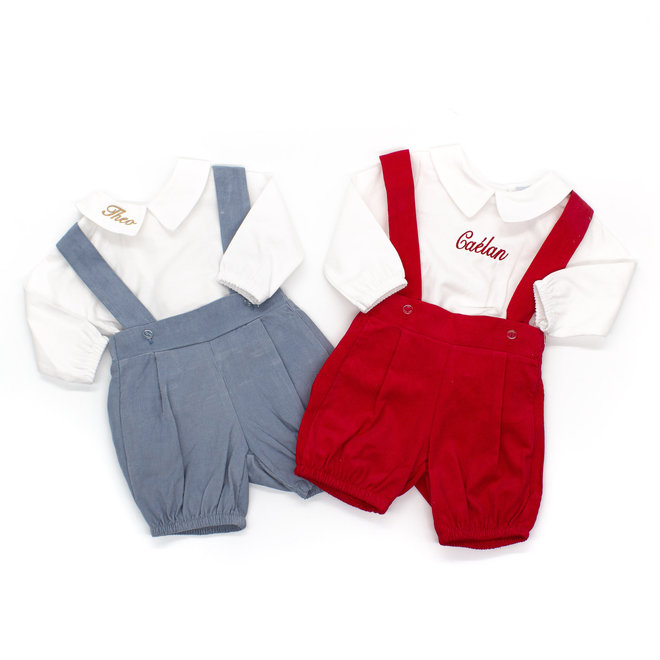 Personalised Baby Boy White Shirt & Dusty Blue Short Co-Ord Outfit Set
