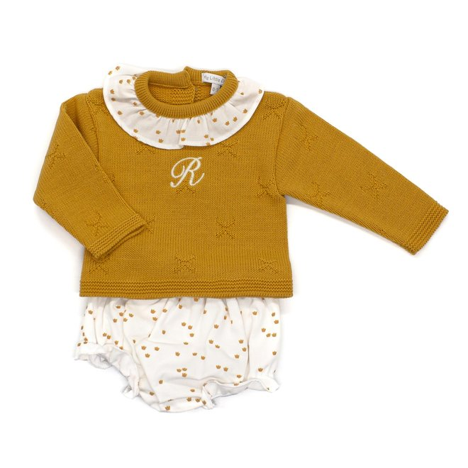 Personalised Mustard Baby Knitted Two Piece