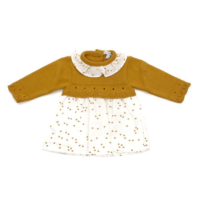 Mustard & White Baby Girl Dress