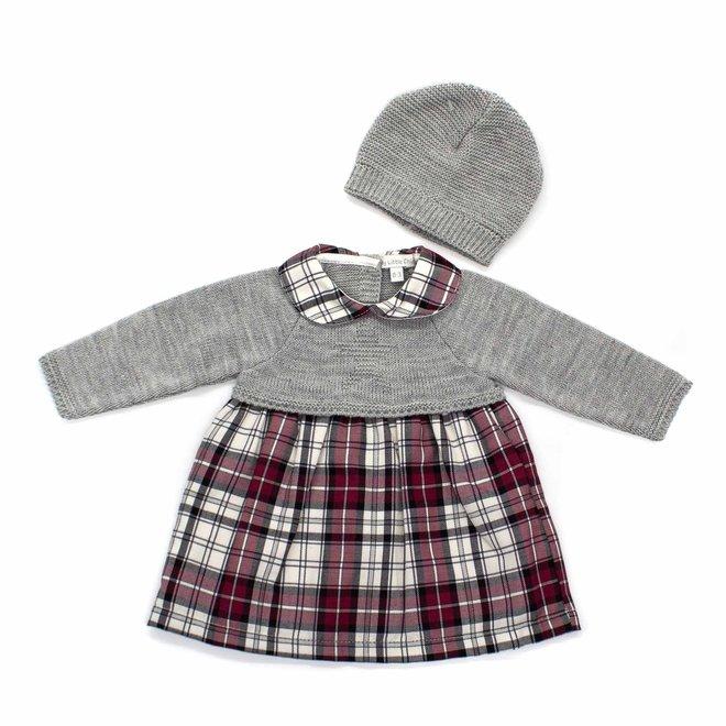 Personalised Grey & Burgundy Tartan Baby Girl Dress