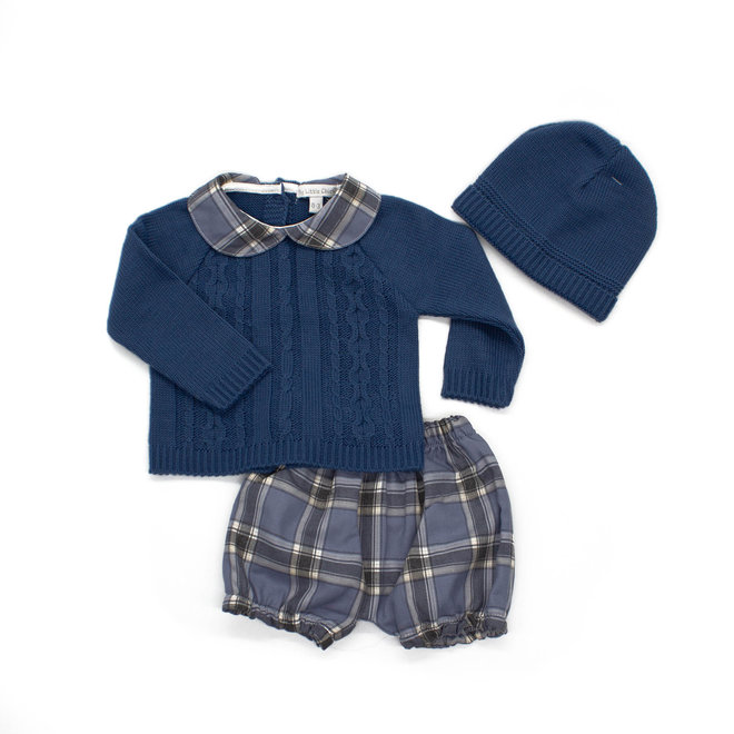 Personalised Dusty Blue Tartan Baby Boy Outfit