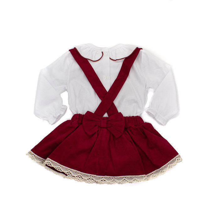 Dungaree Dress With Bows & Shirt