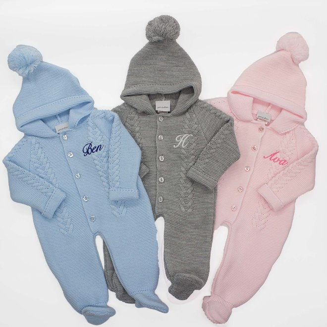 Knitted Pramsuit With Pom Hood