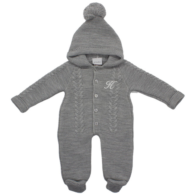 Personalised Knitted Pramsuit With Pom Hood