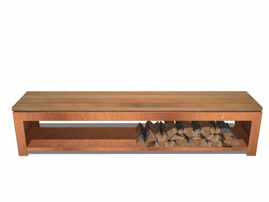 Pottenland Houtopslag Bench 200 x 40 x 43 cm