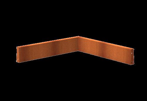 Pottenland Keerwand cortenstaal binnenhoek 100 x 100 x 20 cm