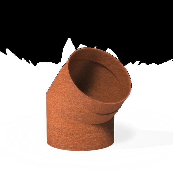 Cortenstaal bocht voor tuinhaard 45° - 204x200mm